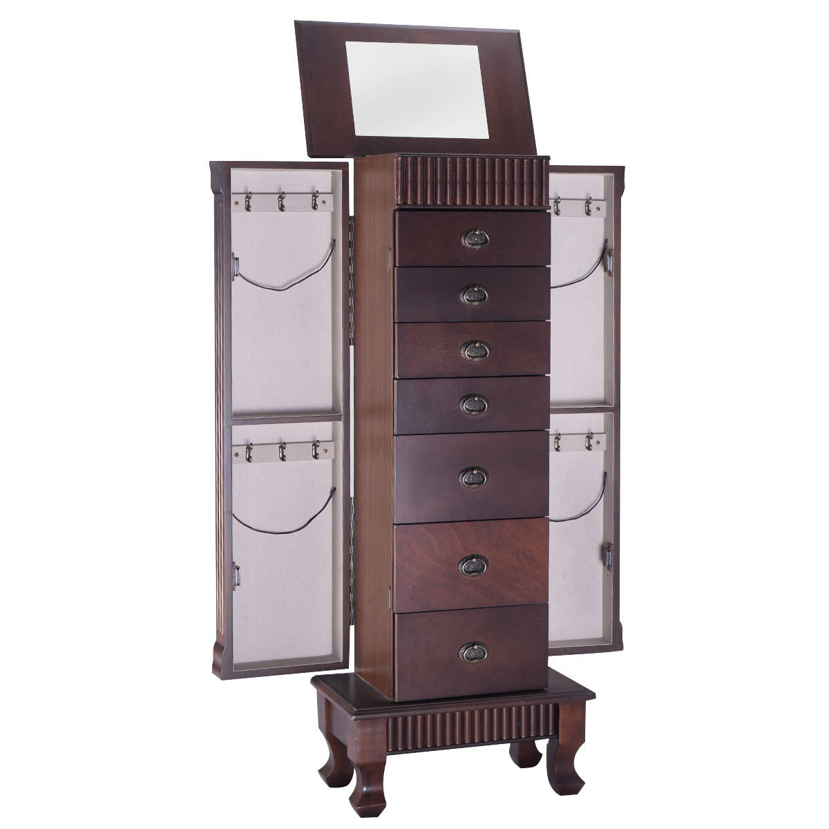 Beautiful Dark Brown Large Capacity Floor Standing Jewelry Armoire