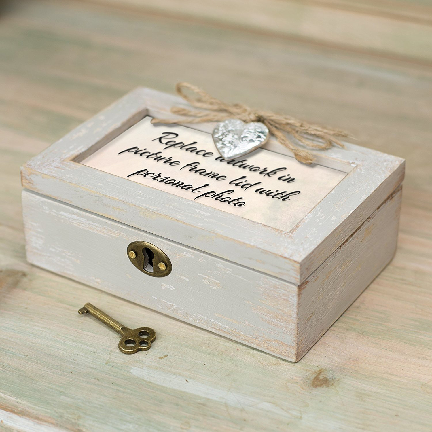 Beautiful Distressed Vintage Wooden Musical Jewelry Box