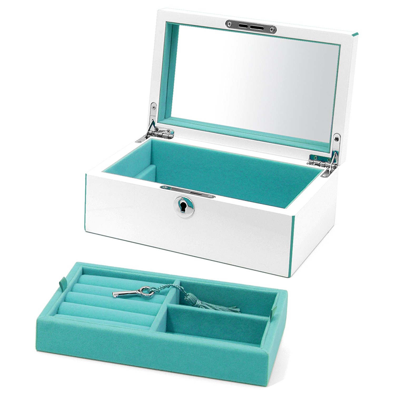 Beautiful Silver Mirrored Teal Interior Jewelry Chest