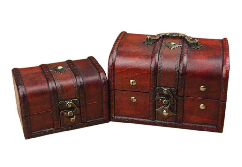 Cherry Red Wooden Antique Chest Jewelry Box