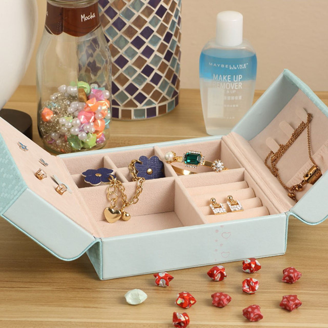 Compact Small Teal Beautiful Jewelry Box