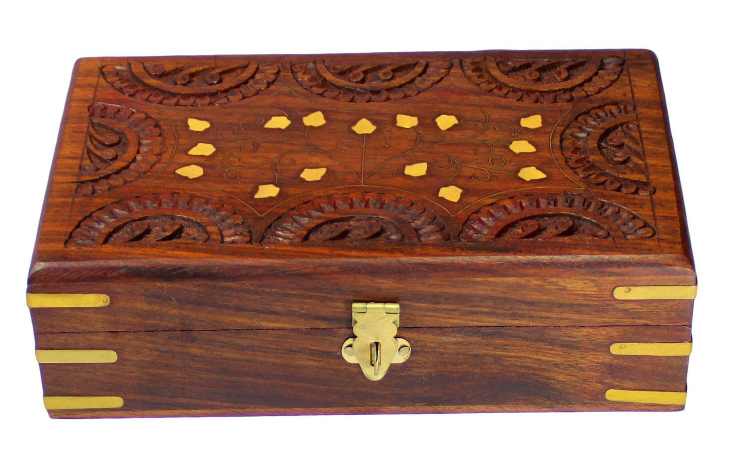 Cute Gold Hinge Decorative Wooden Carved Trinket Box