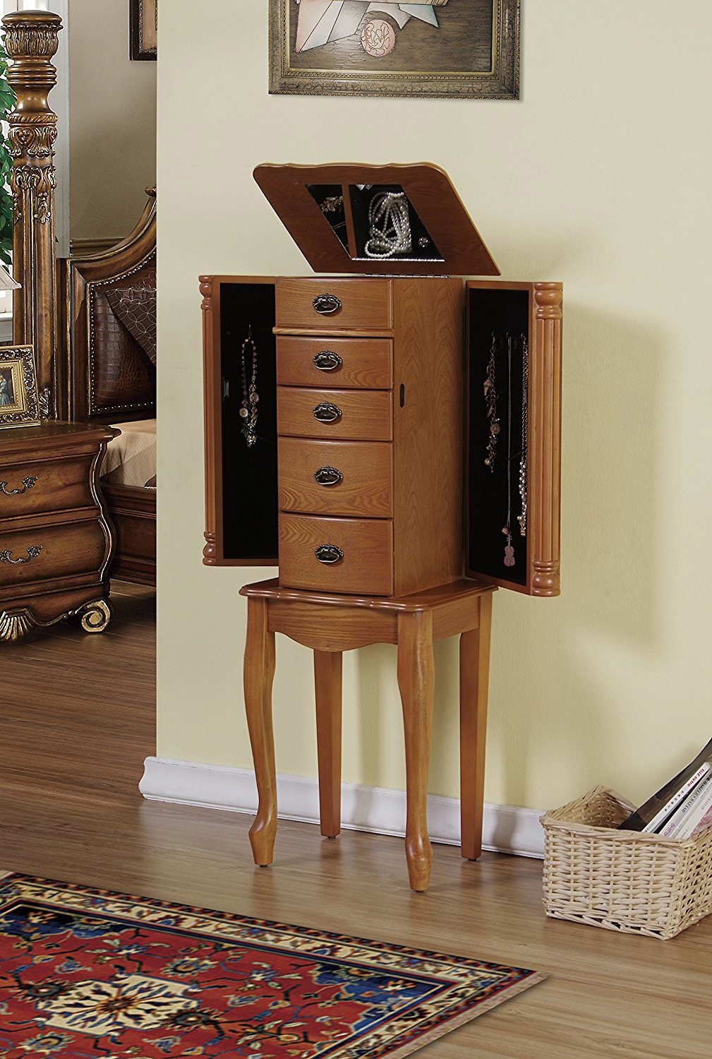 Elegant Classic Light Brown Double Sided Drawer Oak Jewelry Armoire