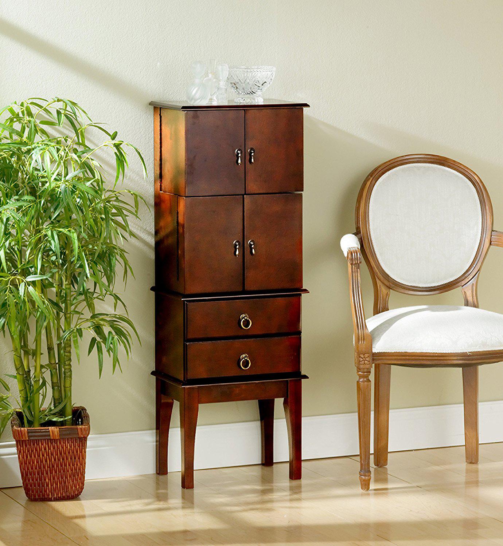 Elegant Rustic Brown Wooden Floor Standing Jewelry Armoire