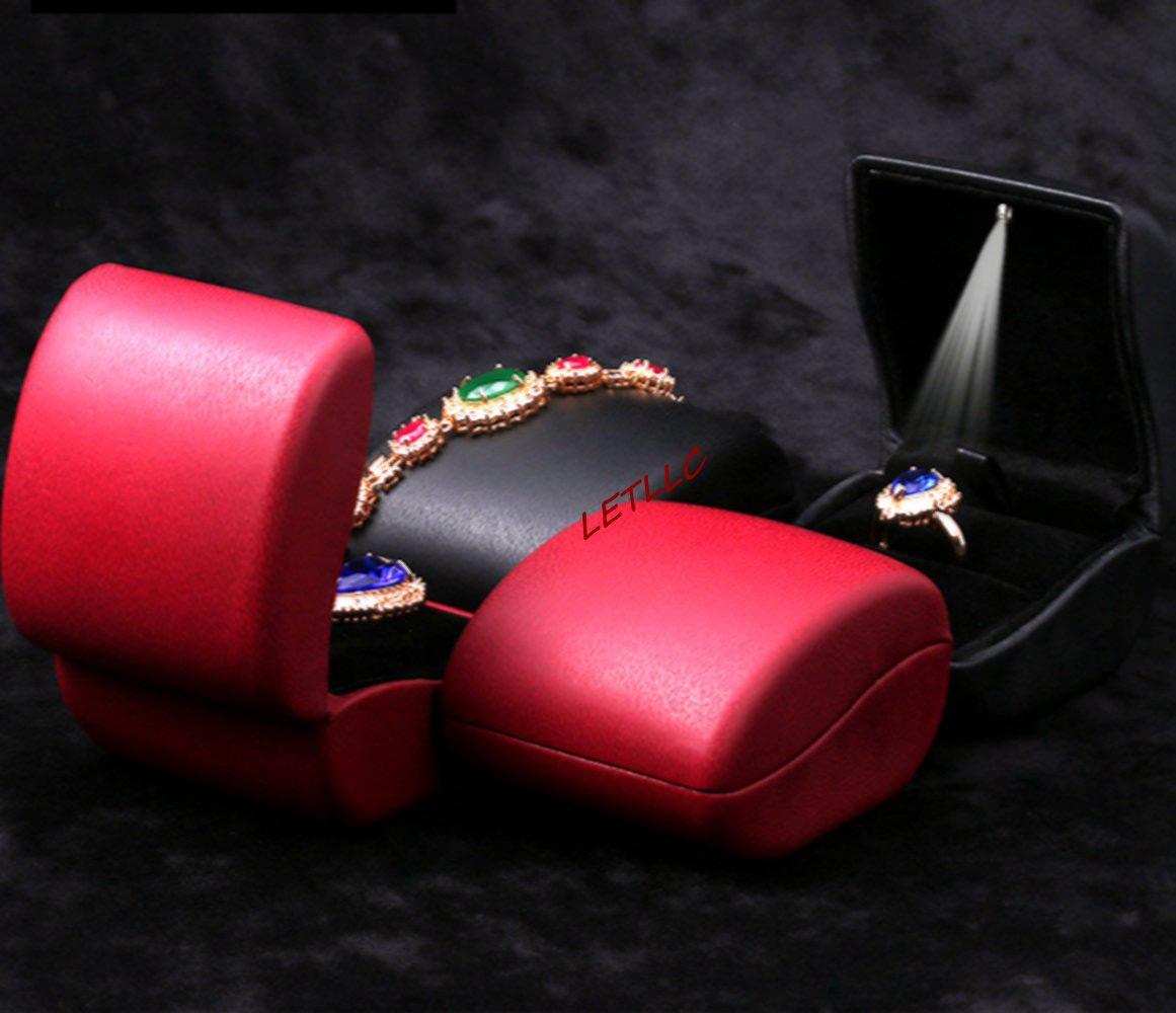 Elegant Slim Black Red Engagement Ring Box