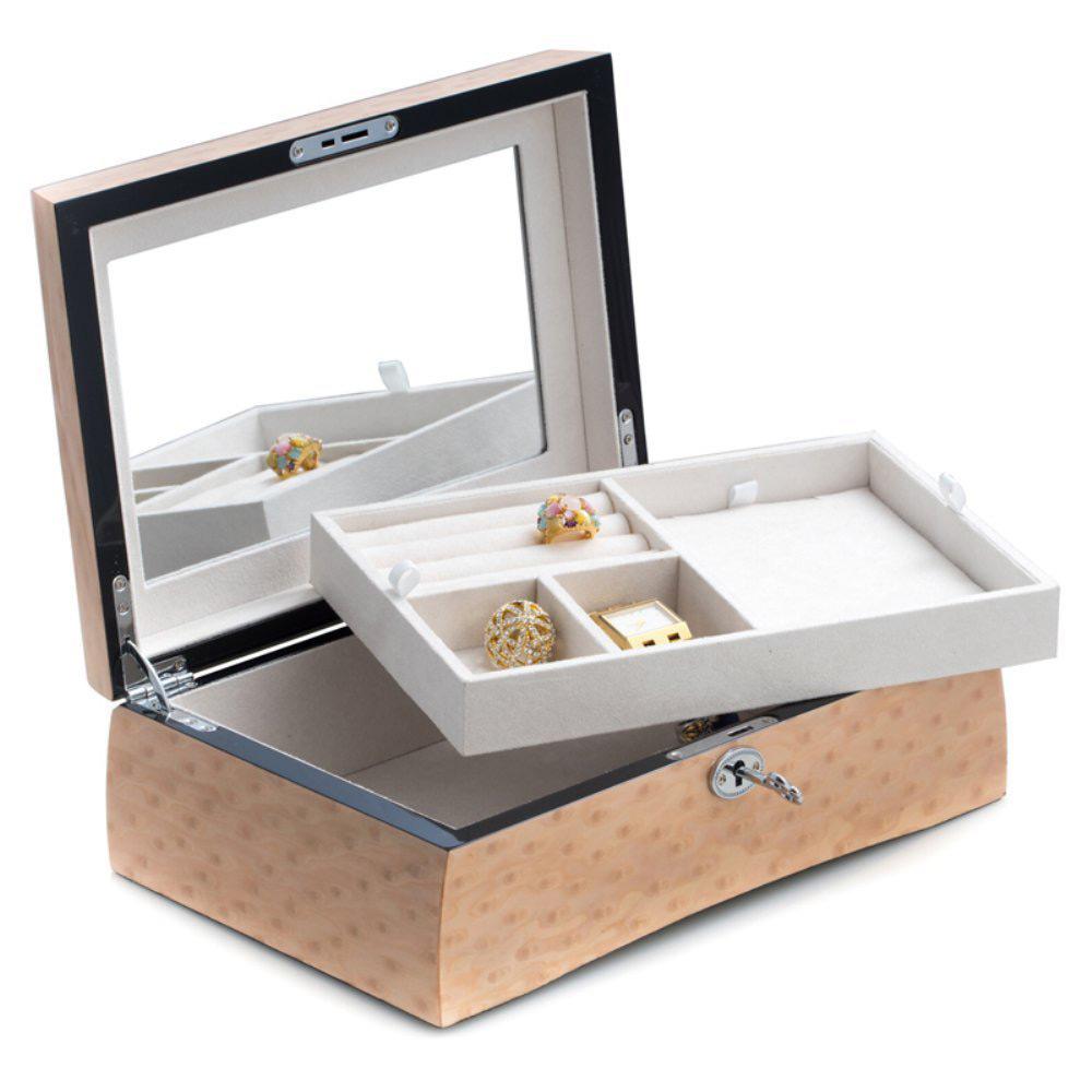 Elegant Wooden Locking Mirrored Jewelry Box