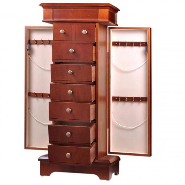 Beautiful High Capacity Tall Standing Jewelry Armoire