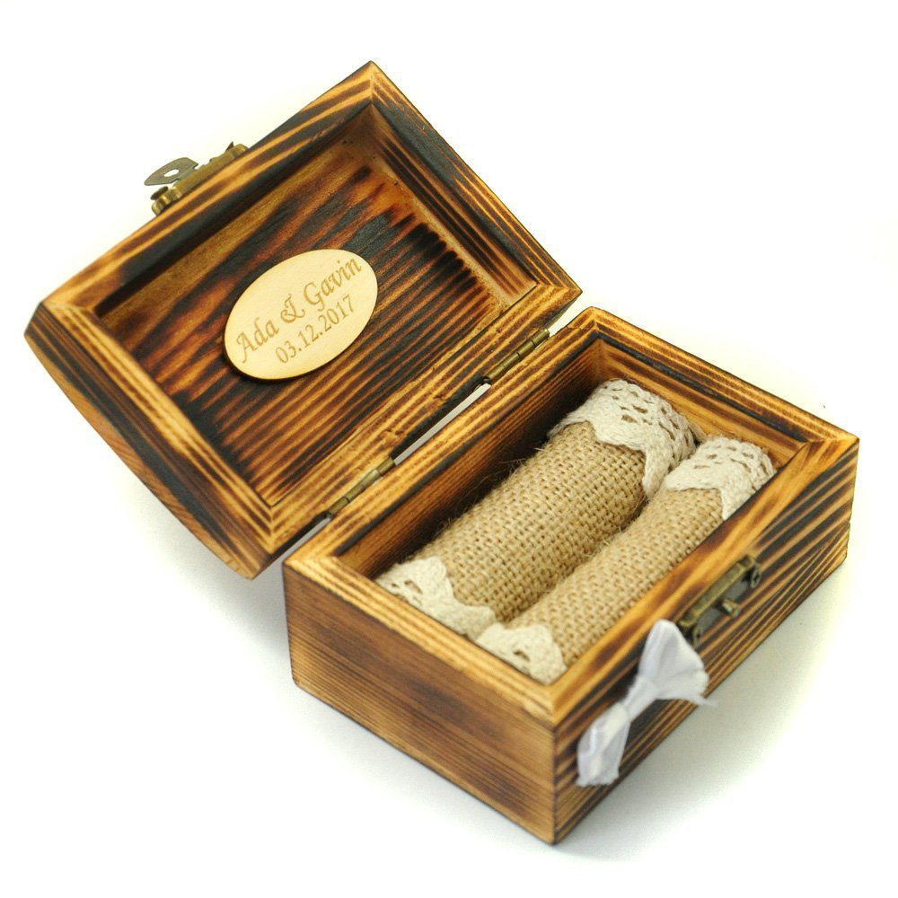 Creative Burned Wood Rustic Wedding Ring Box
