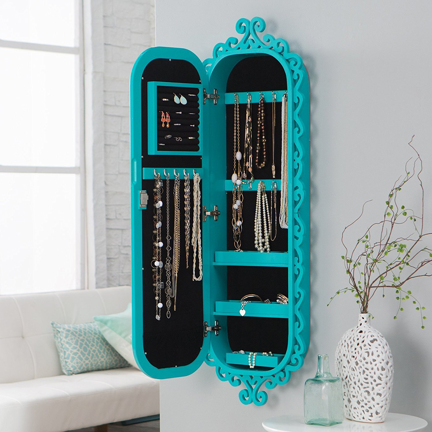 Cute Decorative Teal Oval Mirrored Jewelry Armoire