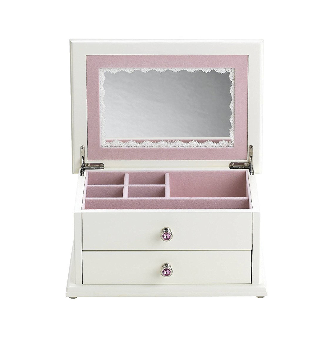 Cute White Locking Pink Interior Mirrored Jewelry Box