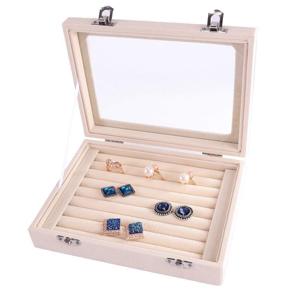 Elegant Glass Lid Large Capacity Earring Rolls Box