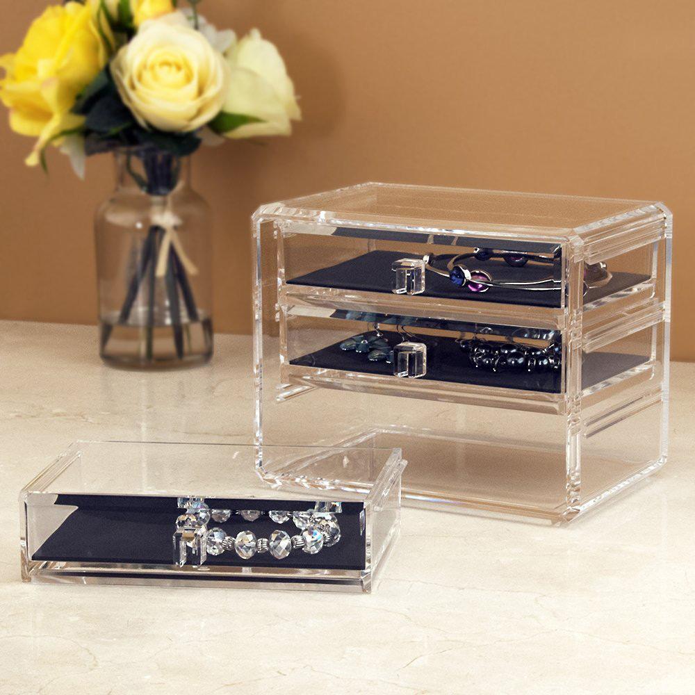 Simple Elegant Transparent Acrylic Three Tier Jewelry Box