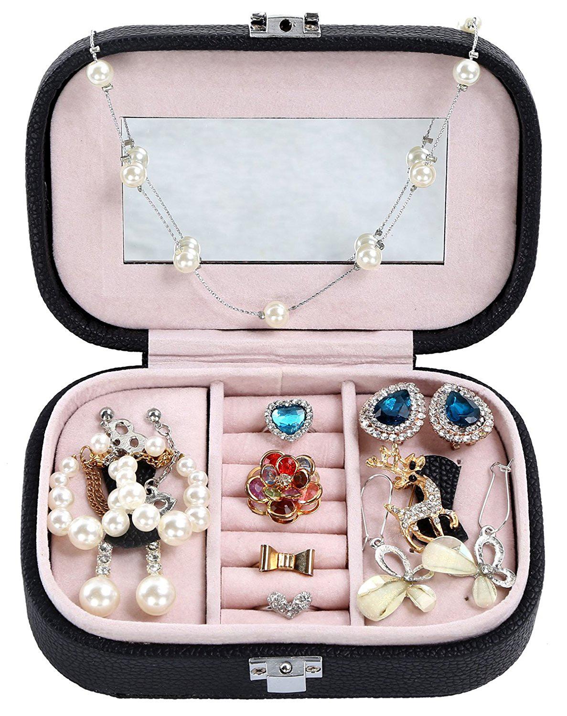 Small Locking Black Pink Interior Jewelry Box