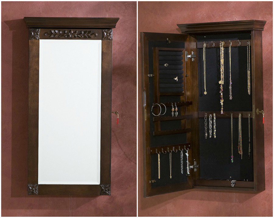 Beautiful Vintage Wall Hanging Mirrored Locking Jewelry Armoire
