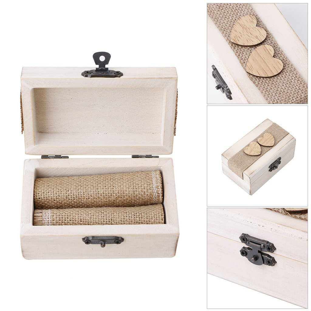 Beautiful Vintage Wooden Locking Wedding Ring Box