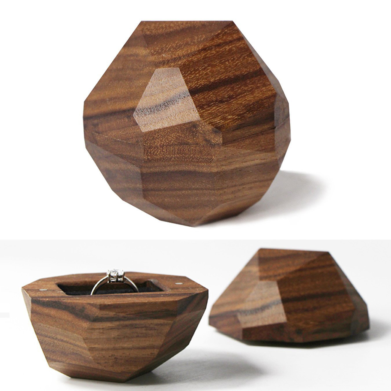 Creative Wooden Rock Shaped Engagement Ring Box