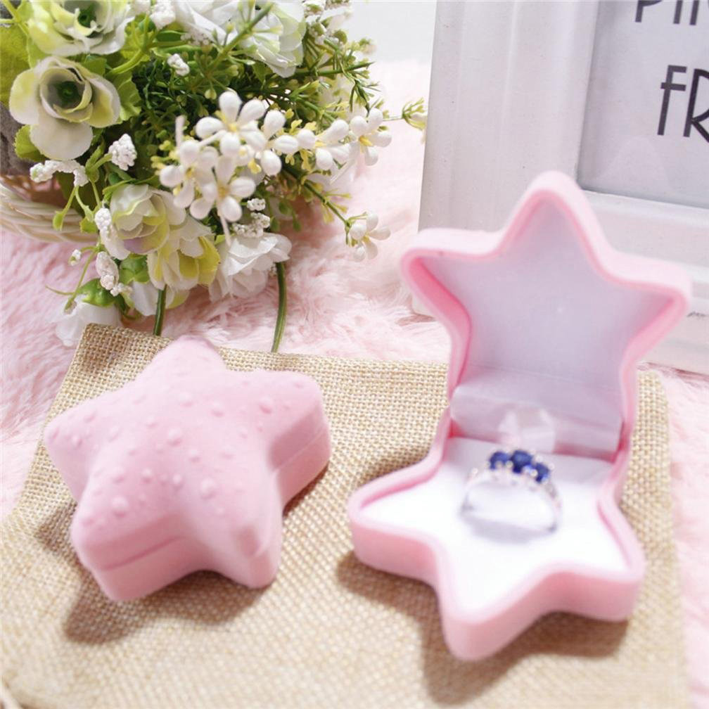 Cute Star Shaped Pink Ring Box