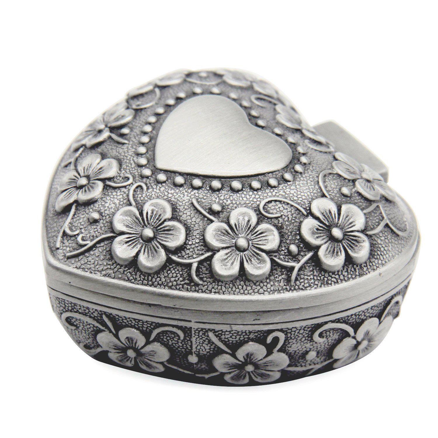 Cute Vintage Antique Silver Heart Shaped Jewelry Box