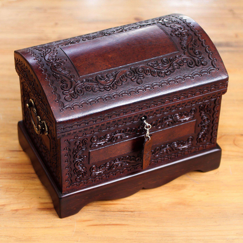 Elegant Dark Brown Carved Wooden Jewelry Chest