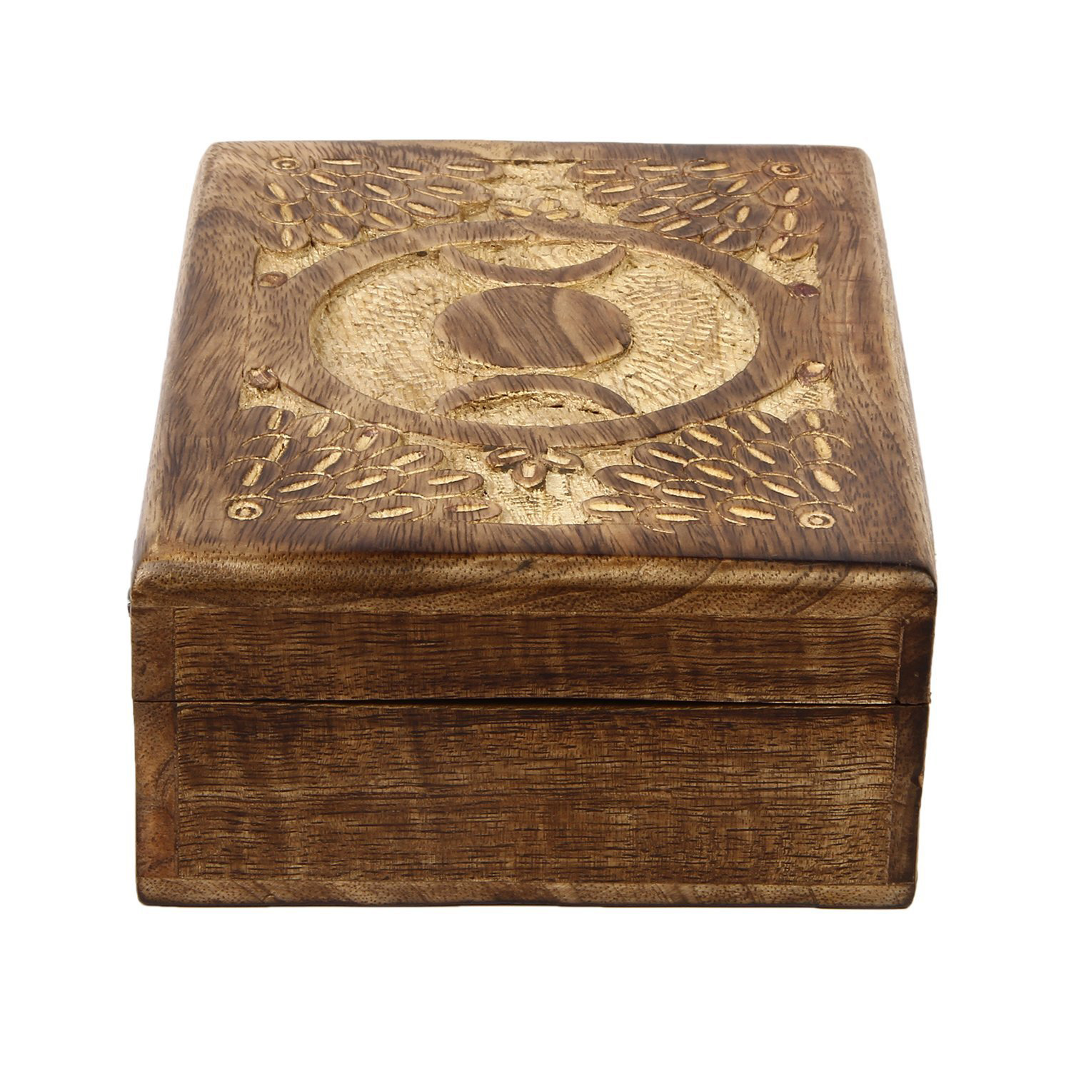 Vintage Distressed Carved Wooden Trinket Box