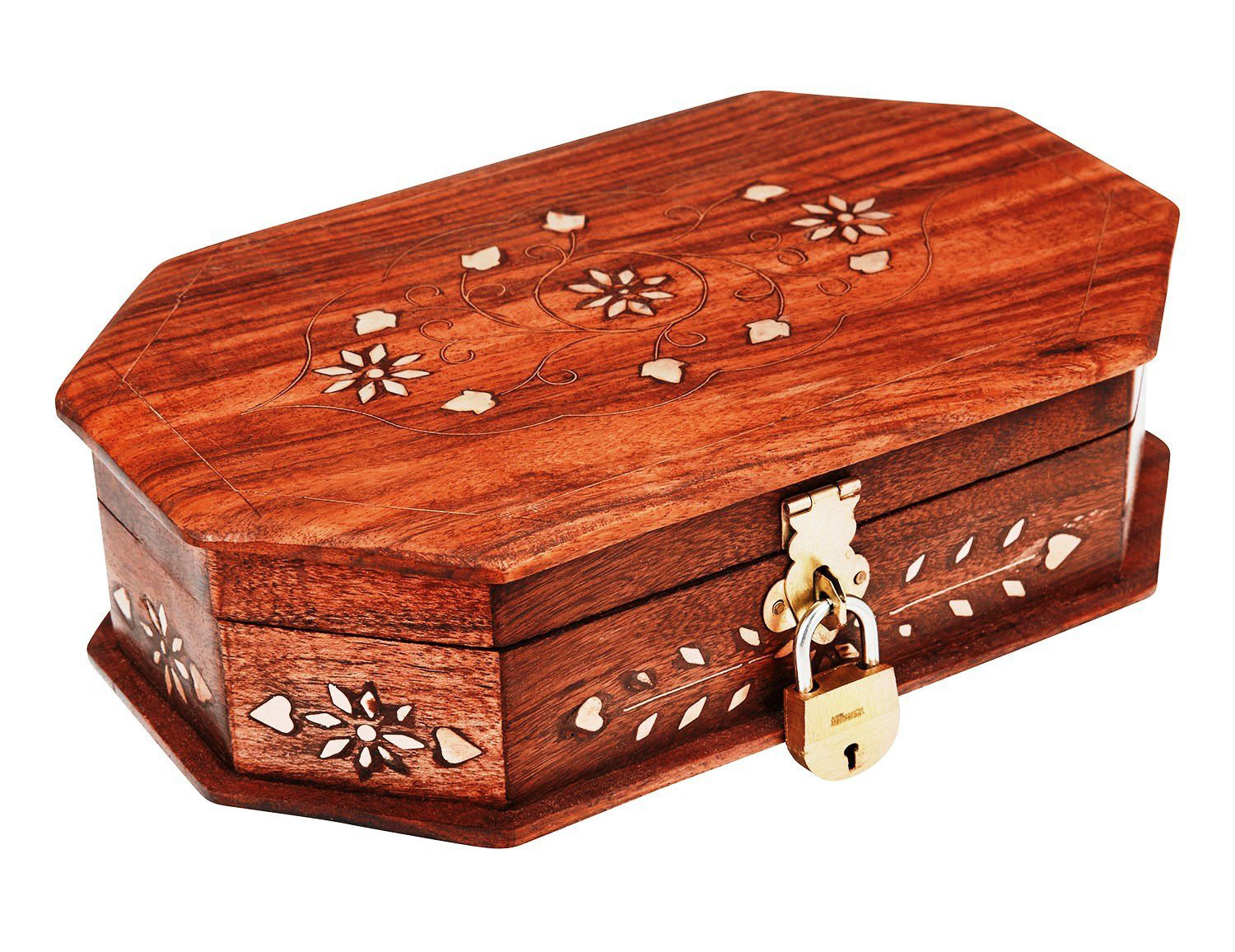 Beautiful Locking Lacquered Wooden Locking Trinket Box