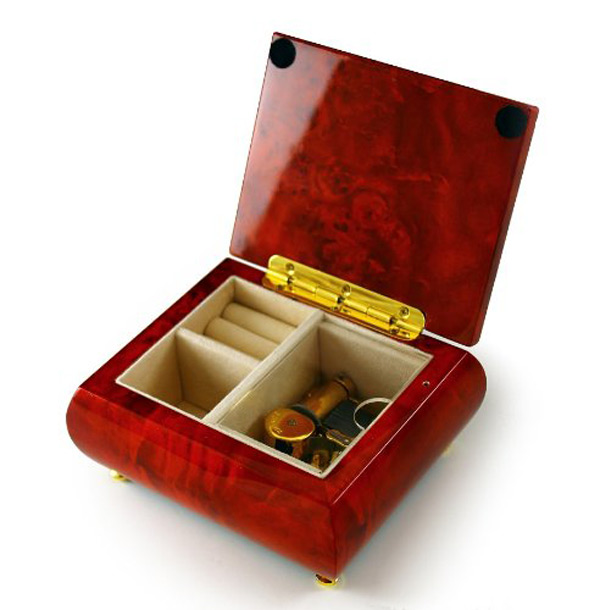 Beautiful Red Lacquered Wooden Gold Hinge Musical Jewelry Box