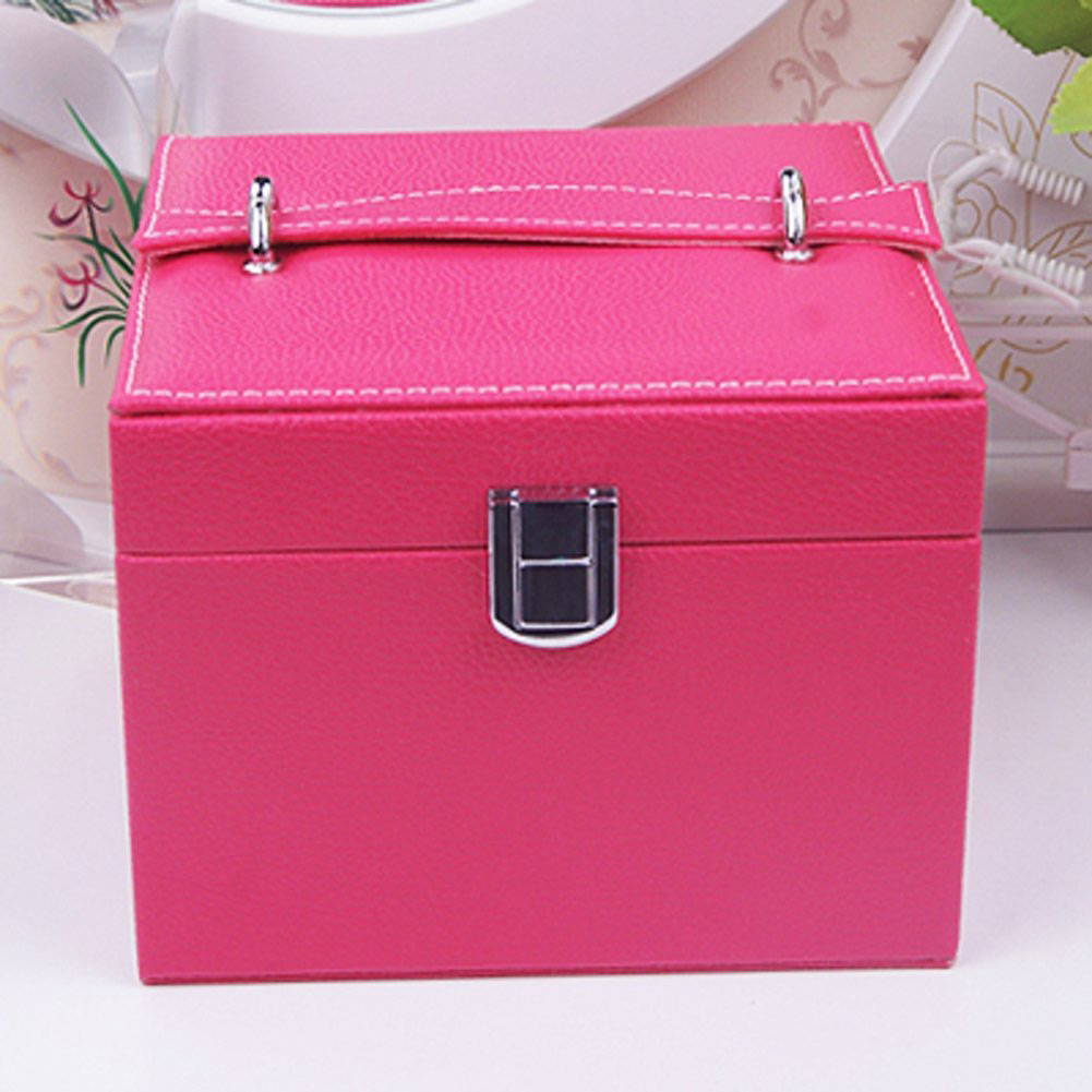 Cute Pink Locking Compact Square Jewelry Box