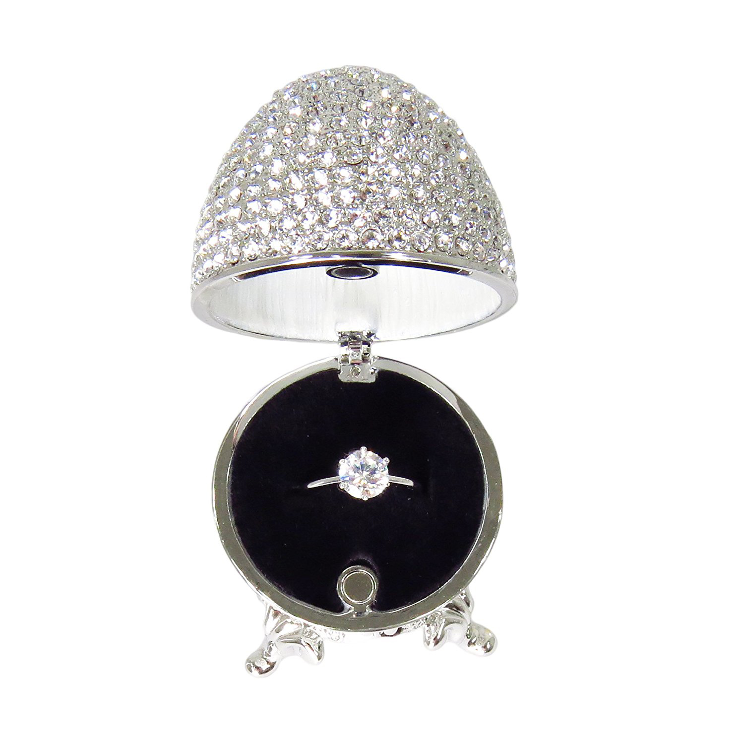 Stunning Swarovski Covered Silver Faberge Egg Jewelry Box