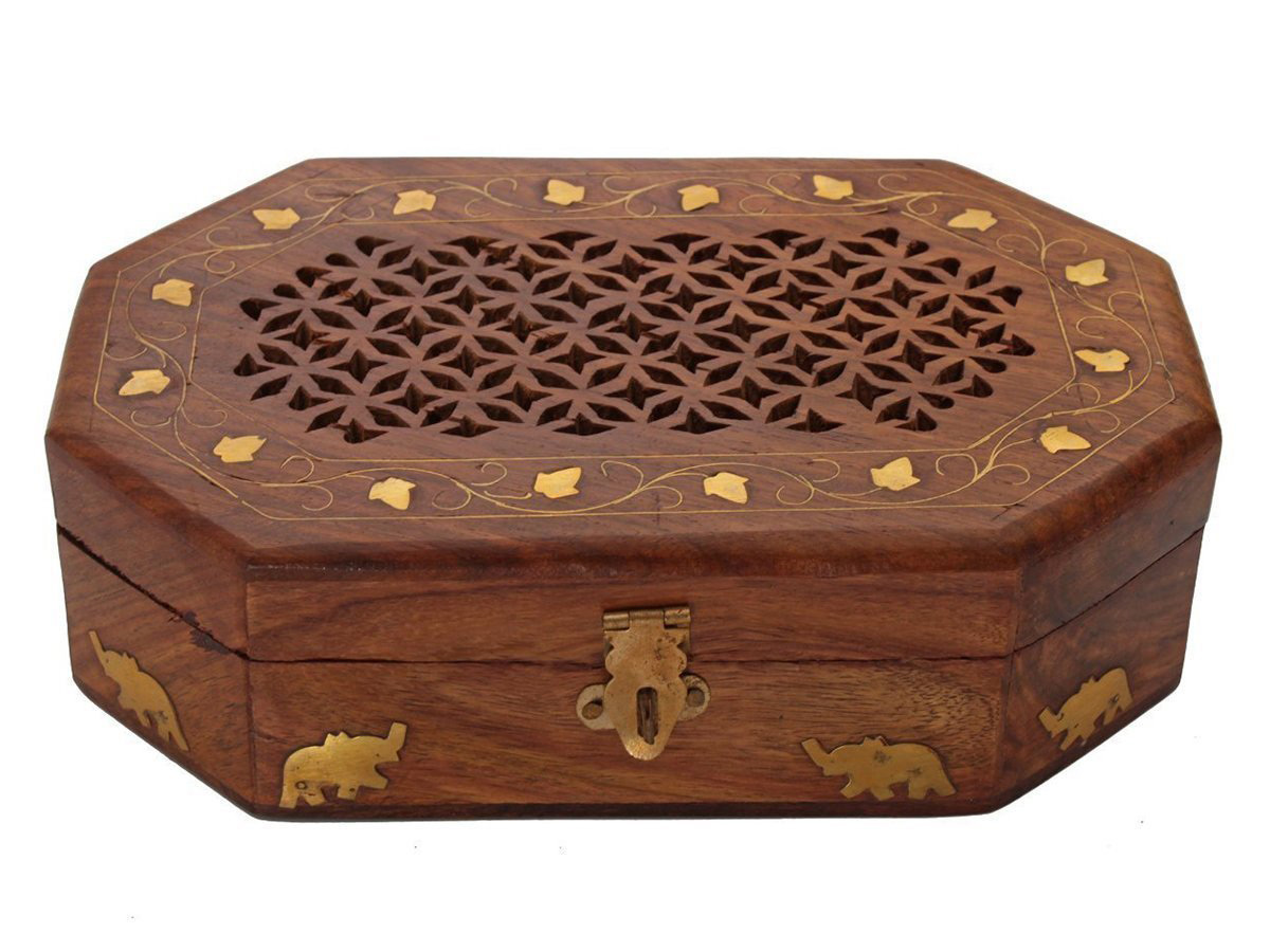 Beautiful Decorative Wooden Trinket Box with Golden Elephants