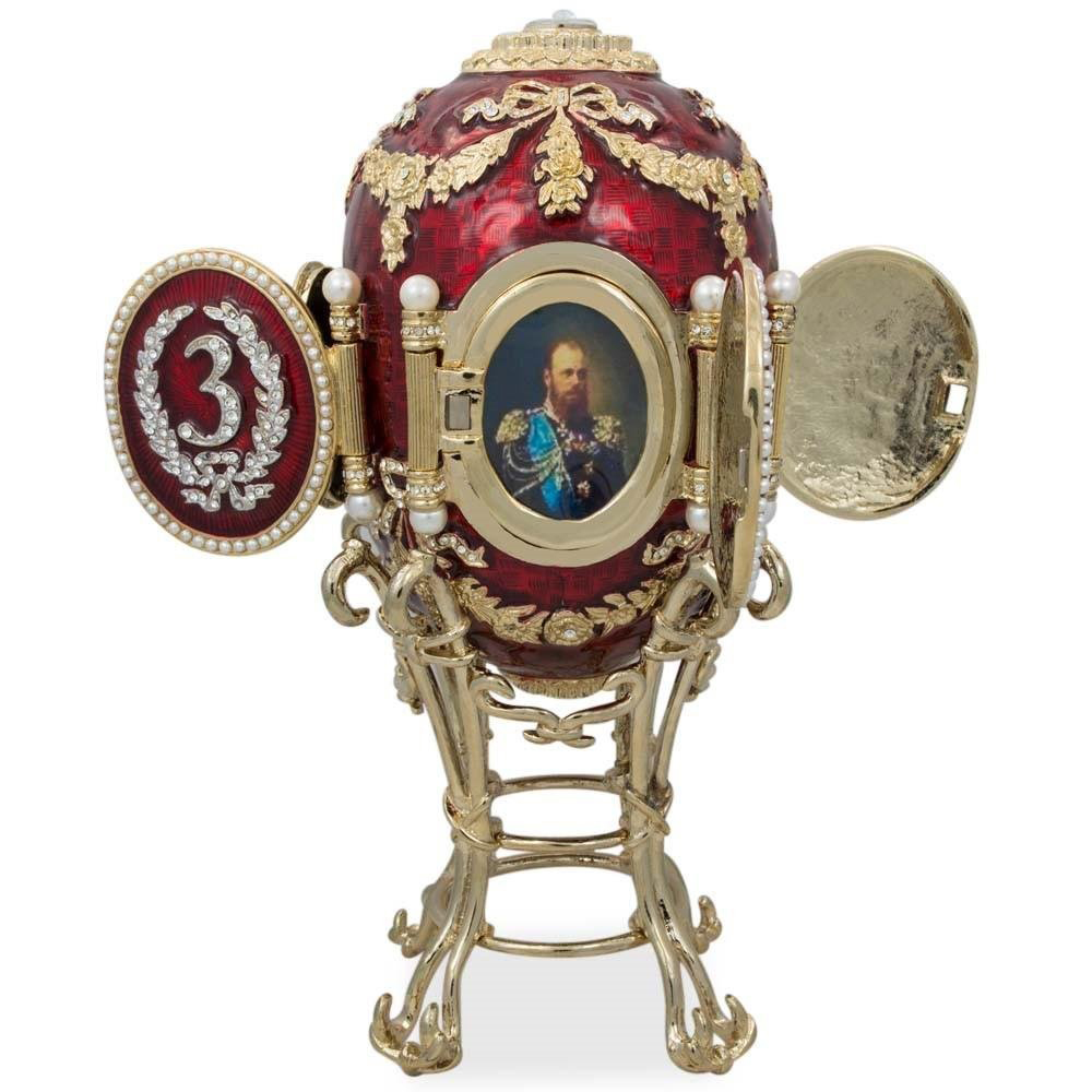 Beautiful Russian Photo Frame Red & Gold Faberge Egg Jewelry Box