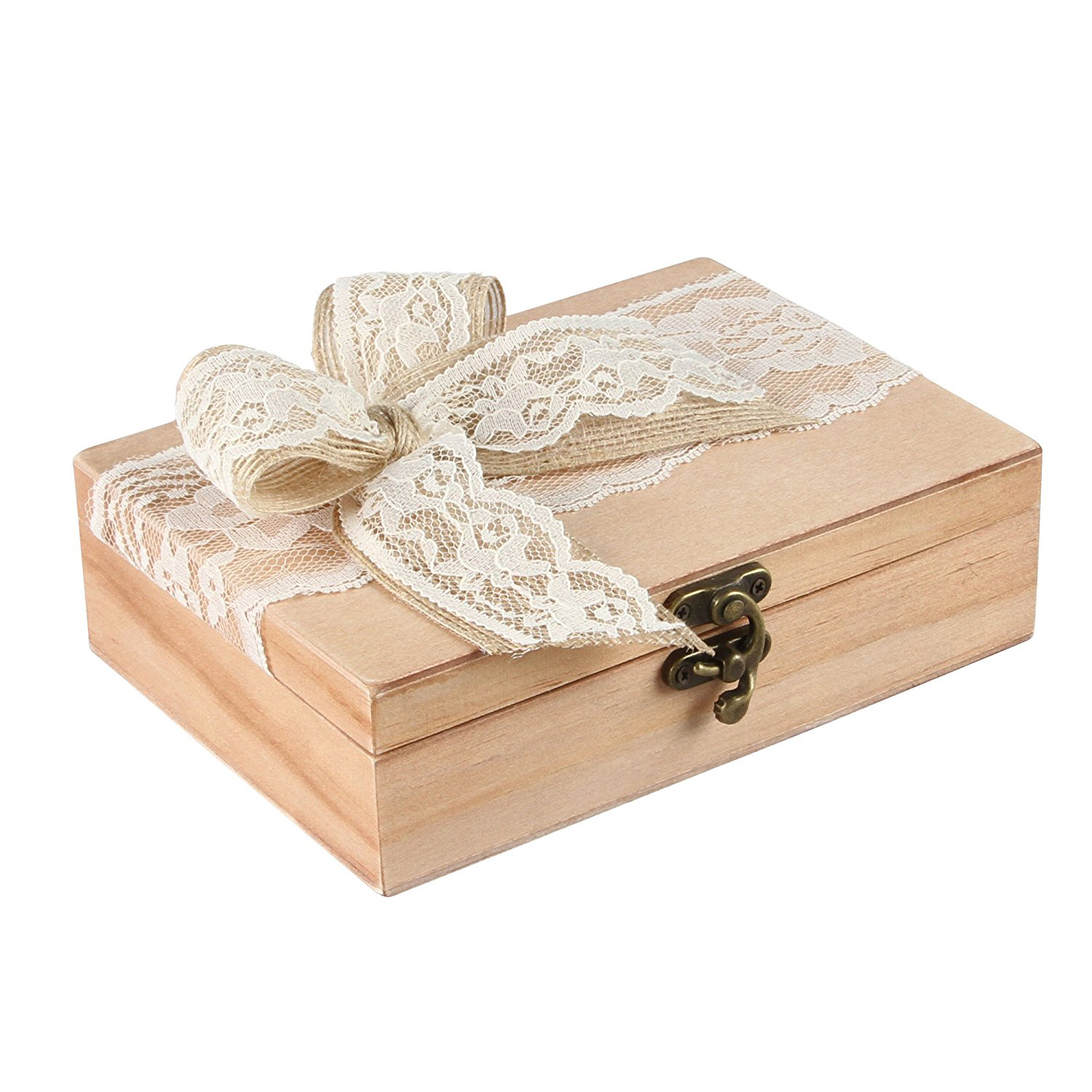 Beautiful Wooden Ribbon Covered Wedding Ring Box
