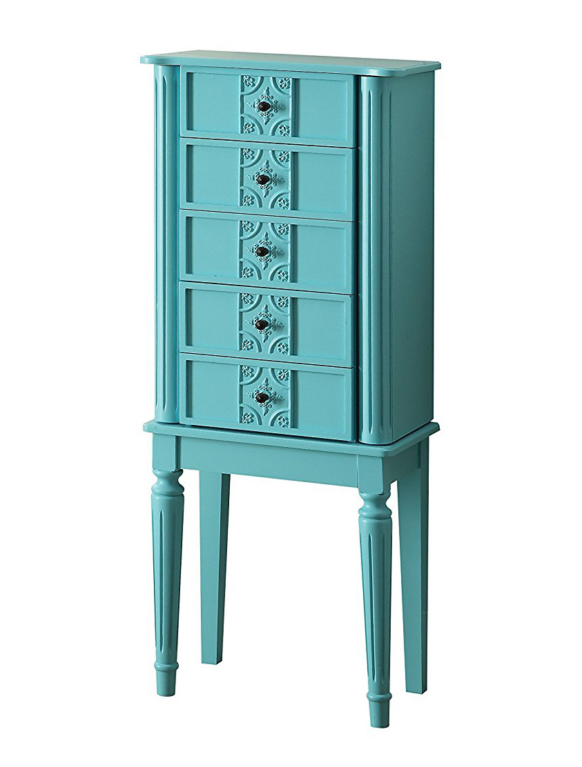 Cute Teal Tall Decorative Standing Jewelry Armoire
