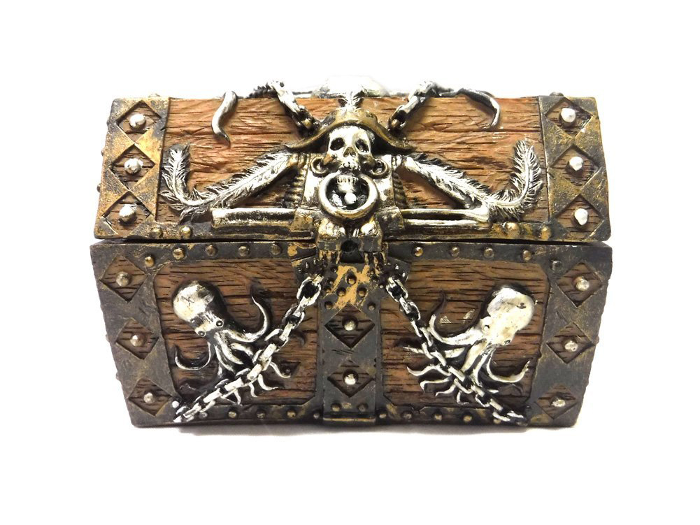 Cute Wood Gold Pirated Themed Jewelry Chest