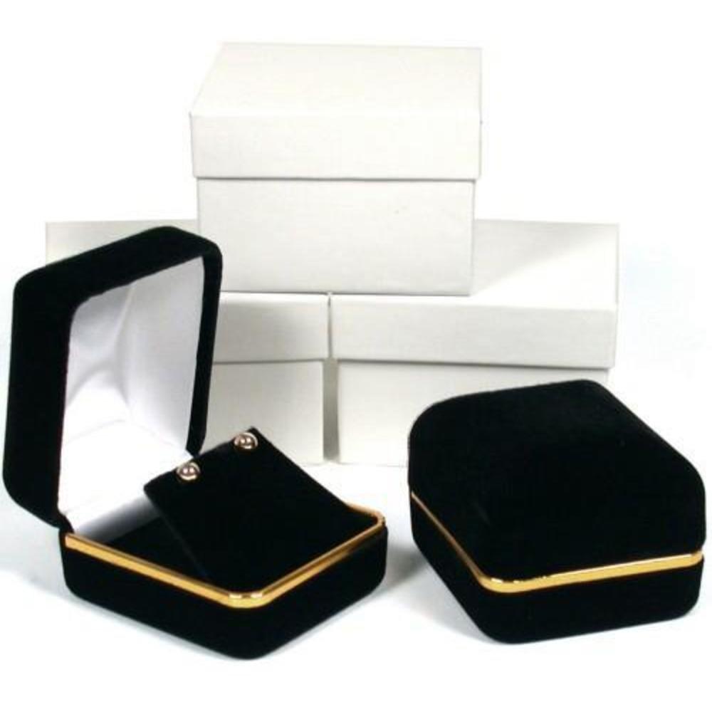 Elegant Black Gold Trim Earring Box