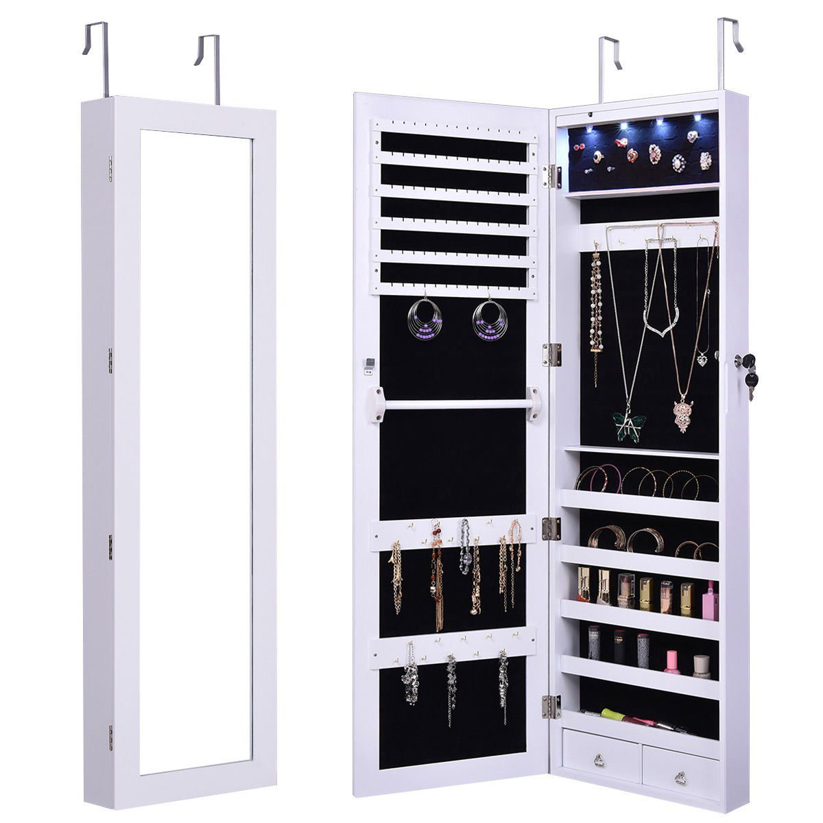 Simple Minimalist White Wall Hanging Jewelry Armoire