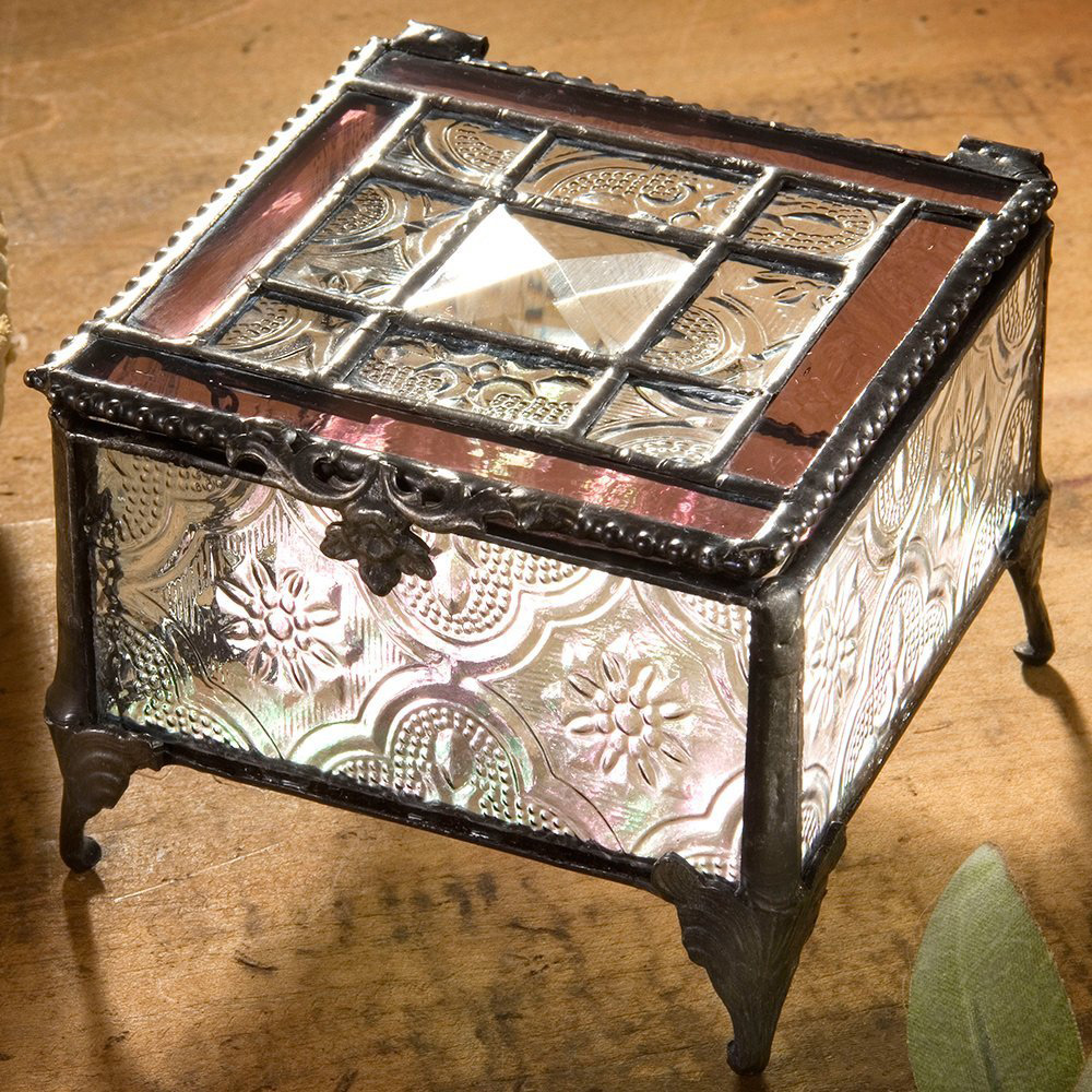 Vintage Antique Decorative Glass Jewelry Box