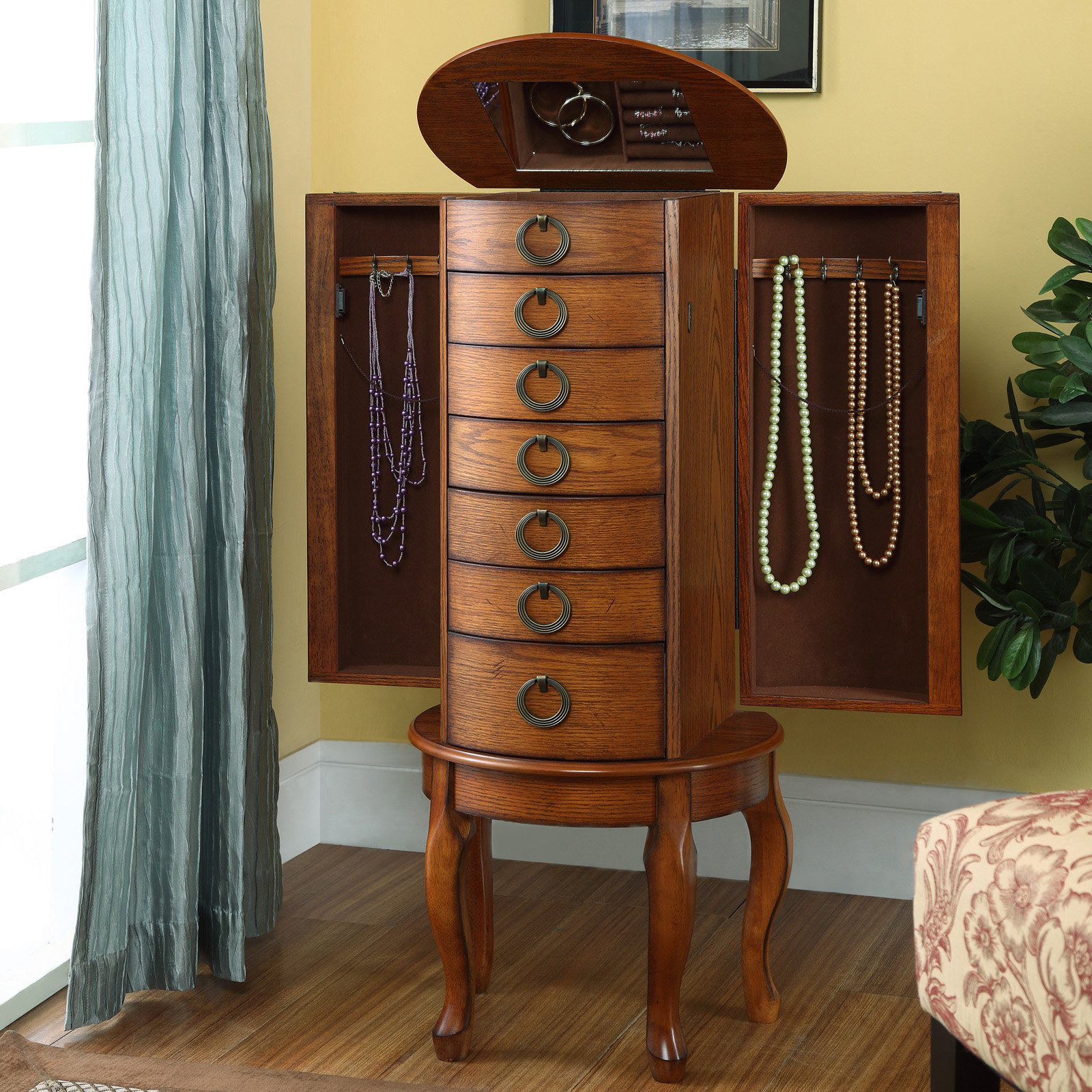 Standing Jewelry Armoire ~ Beautiful oak wood jewelry armoires zen merchandiser