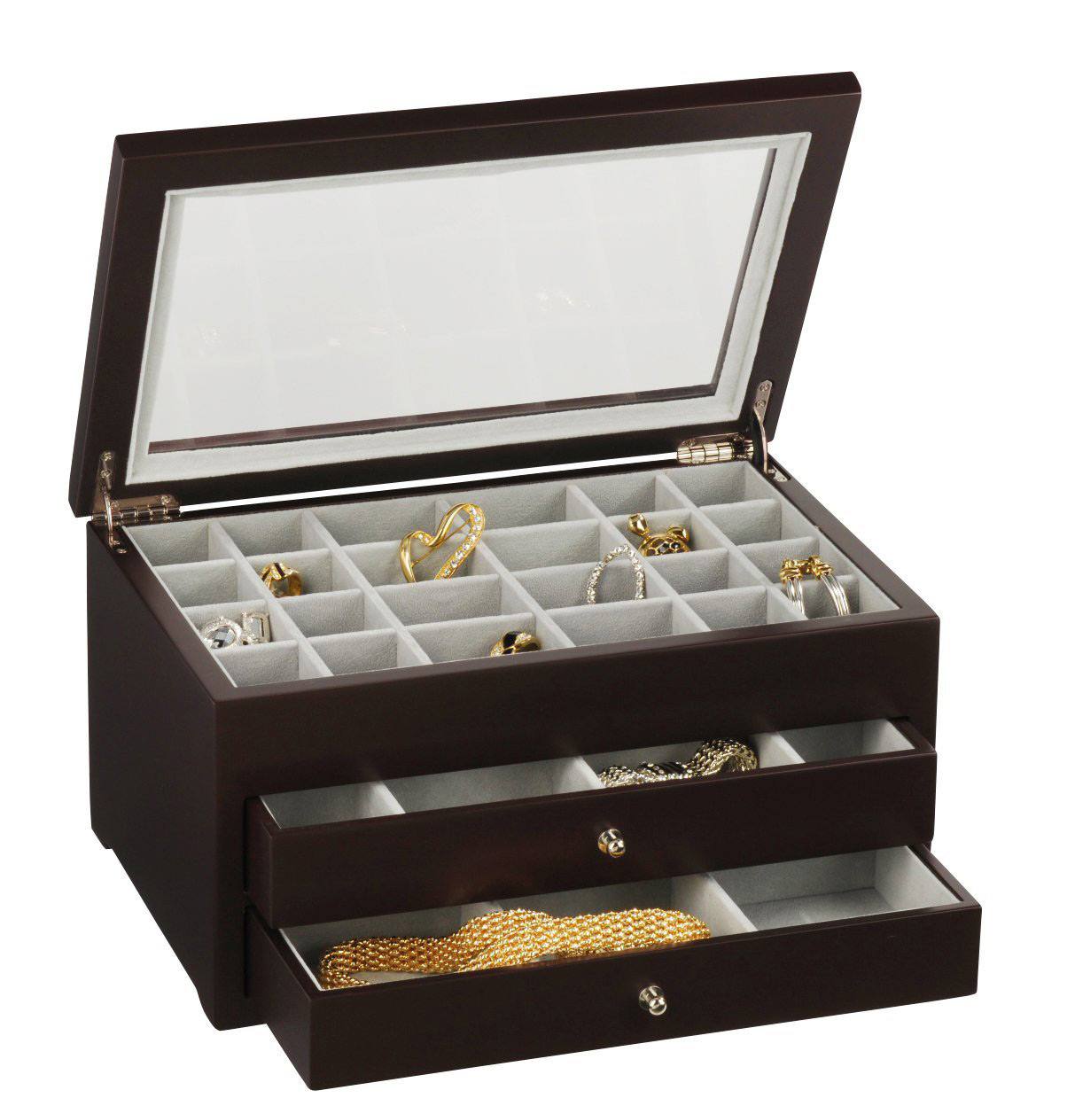 Elegant Large Capacity Wooden Brown Transparent Lid Earring Box