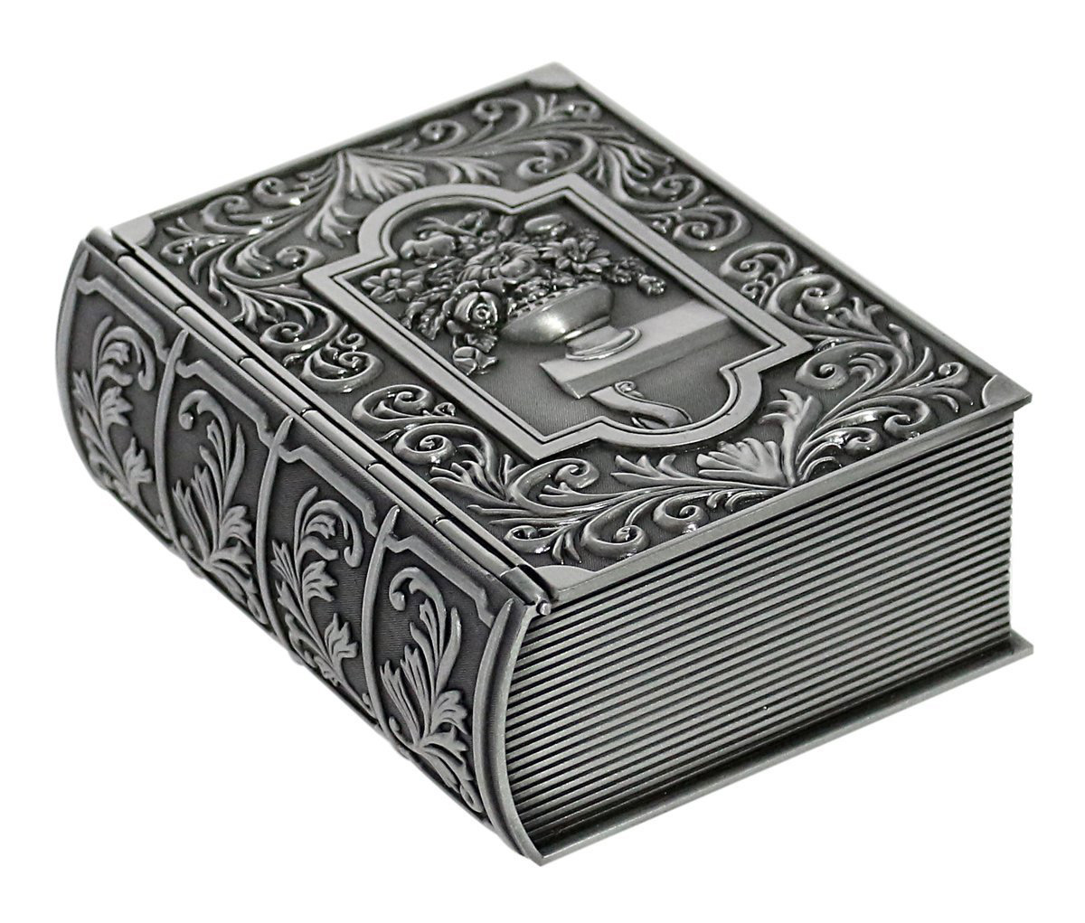 Silver Antique Book Shaped Jewelry Box