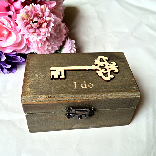 Vintage Gold Key Insert Locking Wooden Wedding Ring Box