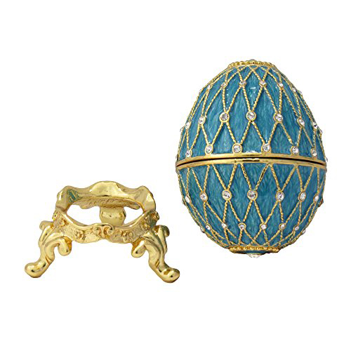 Beautiful Gold Trim Navy Blue Faberge Egg Jewelry Box