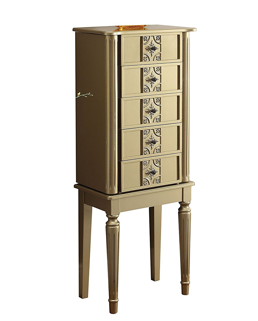Beautiful Golden Tint Decorative Standing Jewelry Armoire