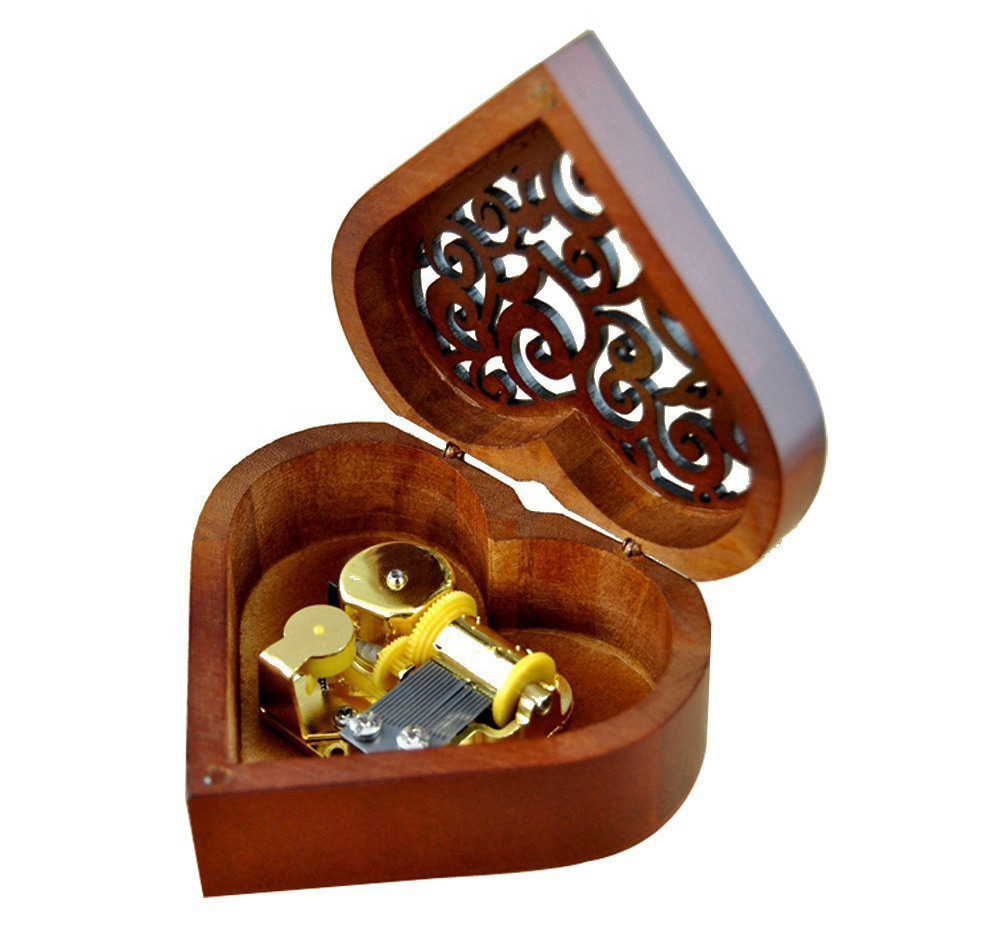 Beautiful Heart Shaped Lacquered Wooden Musical Jewelry Box
