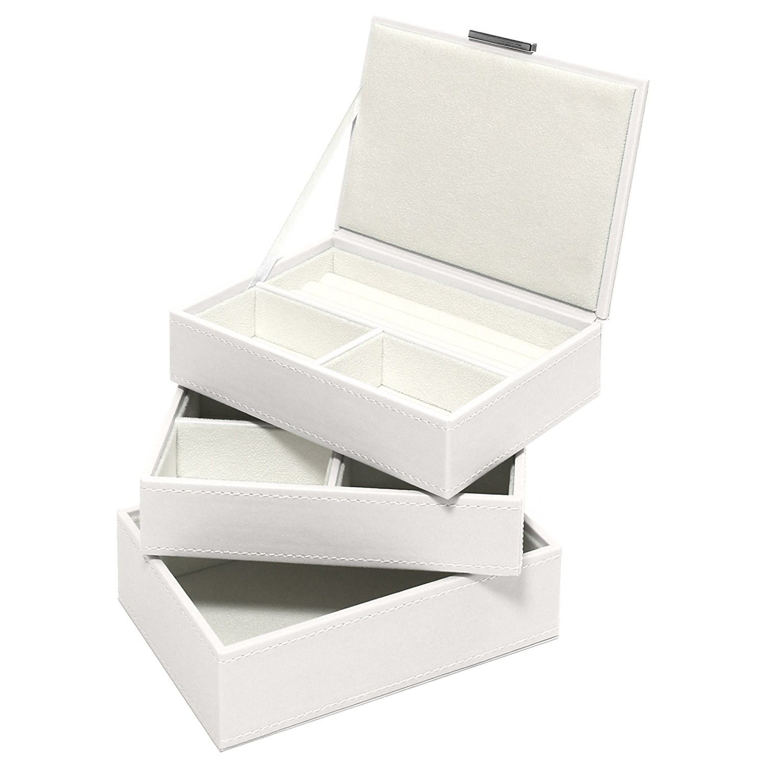 Beautiful White Faux Leather Stackable Jewelry Box