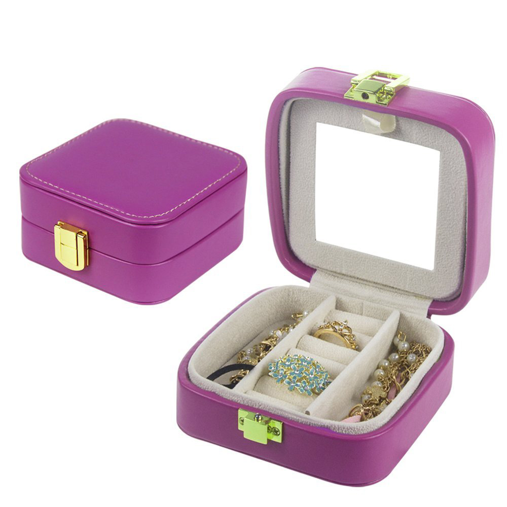 Cute Small Purple Mirrored Jewelry Box
