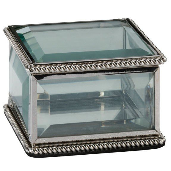 Elegant Silver Frame Glass Jewelry Wedding Ring Box