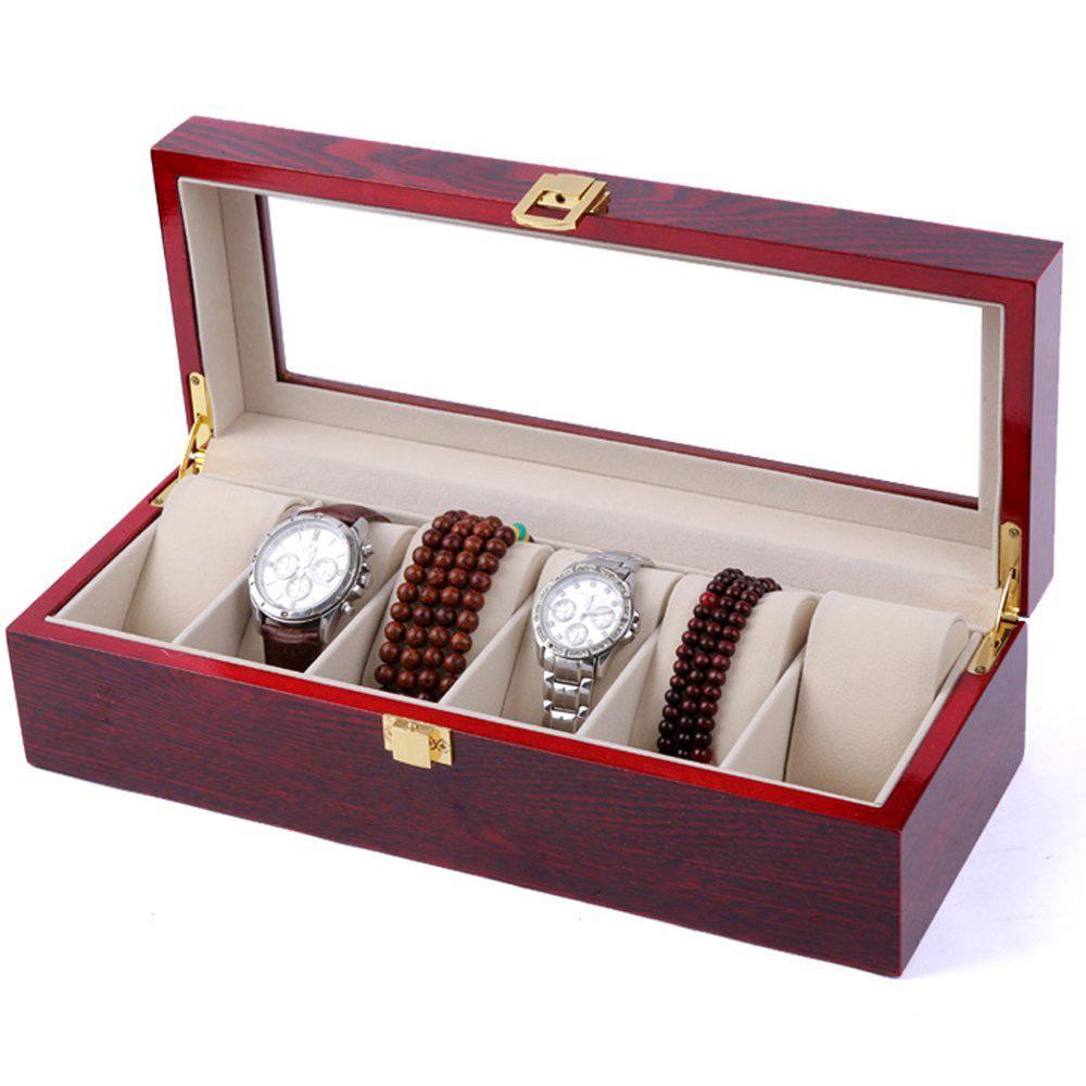 Beautiful Red Glass Lid Watch Holder Box