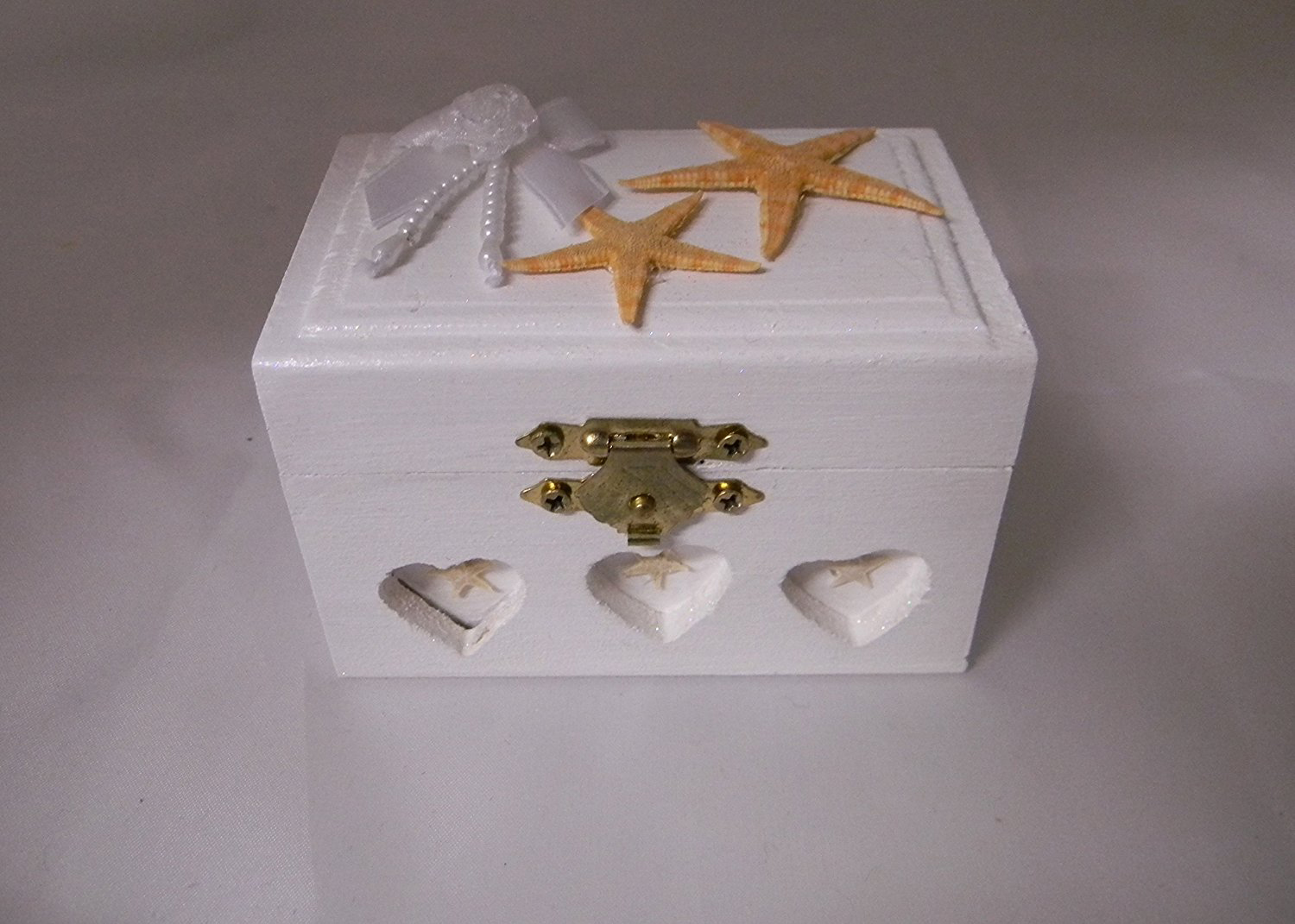 Cute Indie Star Fish White Locking Jewelry Box
