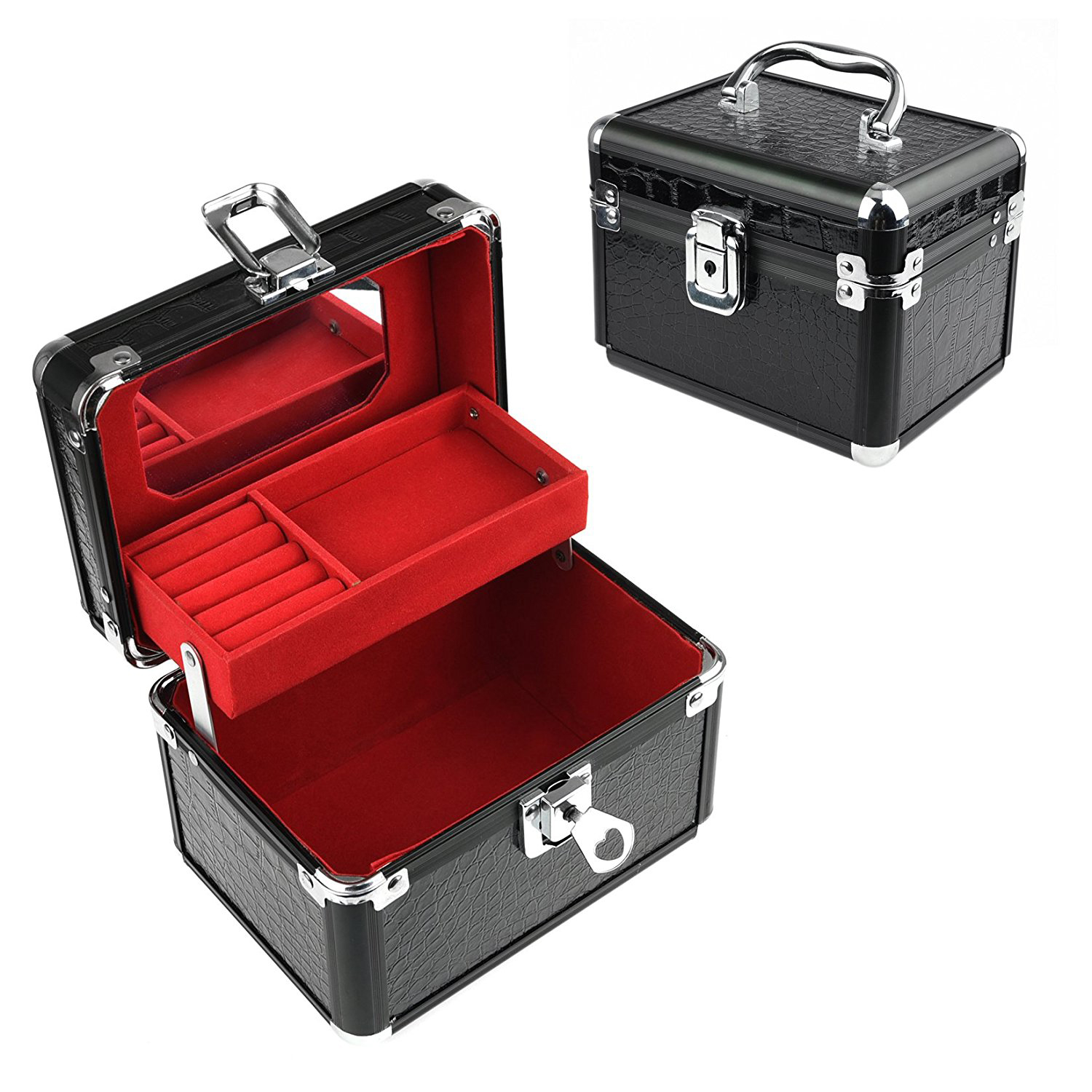 Elegant Black Red Interior Faux Leather Portable Jewelry Chest
