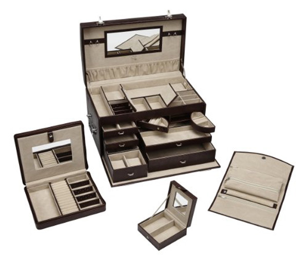 Elegant Brown Faux Leather Countertop Large Locking Jewelry Box Set